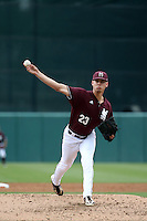 Austin Sexton (23) of the Mississippi State Bulldogs pitches against the Southern California Trojans at Dedeaux Field on March 5, 2016 in Los Angeles, California. Mississippi State defeated Southern California , 8-7. (Larry Goren/Four Seam Images)