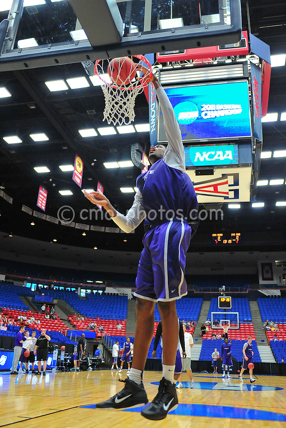 Mar 16, 2011; Tucson, AZ, USA; Kansas State Wildcats forward Victor Ojeleye (10) during a practice the day before the second round of the 2011 NCAA men's basketball tournament at the McKale Center.