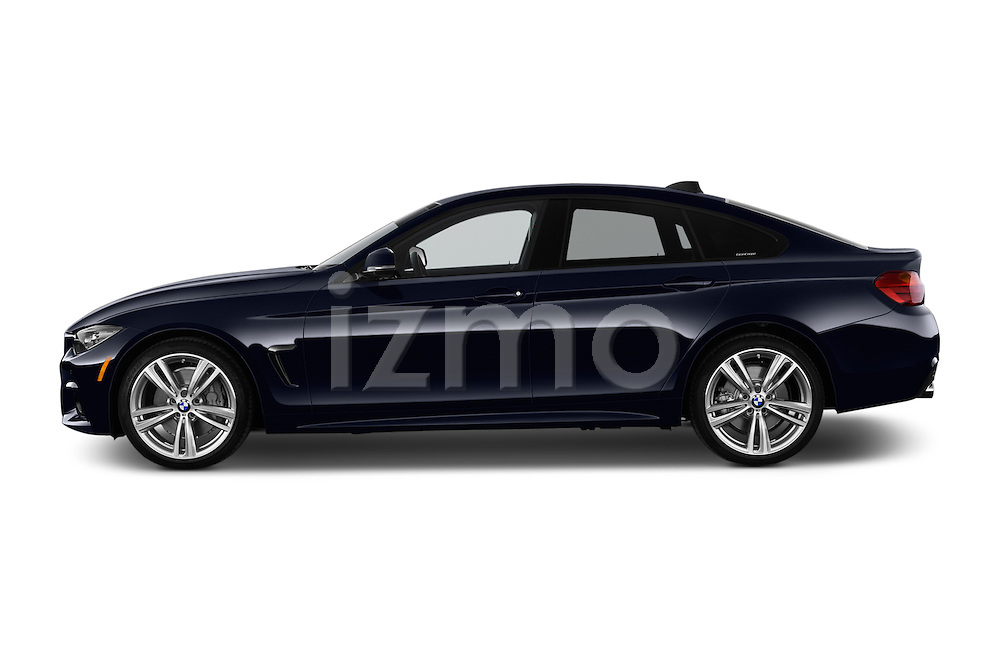 Car Driver side profile view of a 2017 BMW 4-Series 440i-Gran-Coupe 5 Door Hatchback Side View