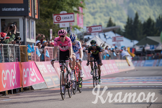 Tom Dumoulin (NED/Sunweb) crosses the finish line after losing time up the final climb that costs him his Maglia Rosa to Nairo Quintana<br /> <br /> Stage 19: San Candido/Innichen &rsaquo; Piancavallo (191km)<br /> 100th Giro d'Italia 2017