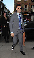 "NON EXCLUSIVE PICTURE: MATRIXPICTURES.CO.UK.PLEASE CREDIT ALL USES..WORLD RIGHTS..American actor Justin Bartha is pictured joining fellow ""Hangover Part 3"" cast members at London's Roka restaurant...MAY 22nd 2013..REF: LTN 133484"