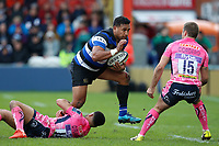 Cooper Vuna of Bath Rugby takes on the Exeter Chiefs defence. Anglo-Welsh Cup Final, between Bath Rugby and Exeter Chiefs on March 30, 2018 at Kingsholm Stadium in Gloucester, England. Photo by: Matt Impey / Wired Photos for Onside Images