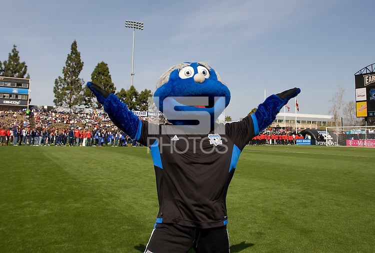 San Jose Earthquakes mascot Q shows his spirits before the game at Buck Shaw Stadium in Santa Clara, California on April 7th, 2012.  San Jose Earthquakes defeated Vancouver Whitecaps, 3-1.