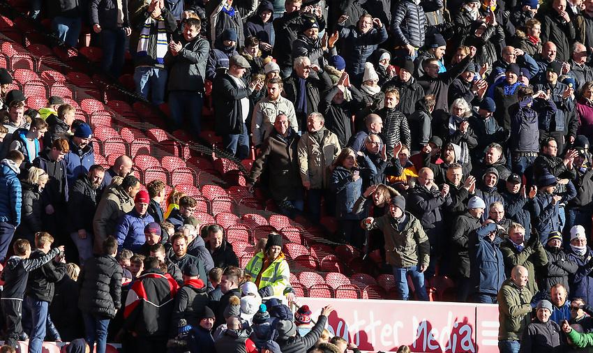 Leeds United fans taunt Middlesbrough fans after the match<br /> <br /> Photographer Alex Dodd/CameraSport<br /> <br /> The EFL Sky Bet Championship - Middlesbrough v Leeds United - Saturday 9th February 2019 - Riverside Stadium - Middlesbrough<br /> <br /> World Copyright © 2019 CameraSport. All rights reserved. 43 Linden Ave. Countesthorpe. Leicester. England. LE8 5PG - Tel: +44 (0) 116 277 4147 - admin@camerasport.com - www.camerasport.com
