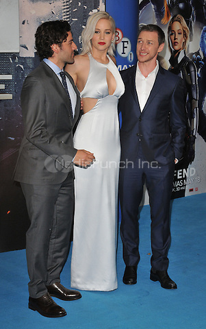 Oscar Isaac, Jennifer Lawrence &amp; James McAvoy at the &quot;X-Men : Apocalypse&quot; global fan screening, BFI Imax, Charlie Chaplin Walk, London, England, UK, on Monday 09 May 2016.<br /> CAP/CAN<br /> &copy;CAN/Capital Pictures /MediaPunch ***NORTH AND SOUTH AMERICA ONLY***