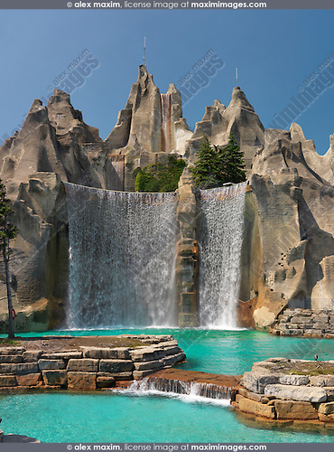 Waterfall at Canada's Wonderland amusement park. Vaughan Ontario Canada.