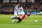Nederland, Rotterdam, 15 september 2012.Eredivisie.Seizoen 2012-2013.Feyenoord-PEC Zwolle.Gerard Aafjes van PEC Zwolle haalt Ruben Schaken van Feyenoord onderuit in het strafschopgebied, wat een penalty als gevolg heeft.