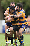 Pat Masoe gets well wrapped up by Riley Hohepa and Kalim North. Premier Counties Power Club Rugby Round 3, Counties Power Game of the Week, between Patumahoe and Bombay, played at Patumahoe on Saturday March 24th 2018. <br /> Photo by Richard Spranger.<br /> <br /> Patumahoe Counties Power Cup Holders won the game 26 - 23 after trailing 7 - 23 at halftime.<br /> Patumahoe 26 - Penalty try, Richard Taupaki, Theodore Solipo, Craig Jones tries; Riley Hohepa 2 conversions. <br /> Bombay 23 - Shaun Muir, Jordan Goldsmith, Liam Daniela, tries; Tim Cossens conversion; Tim Cossens 2 penalties.