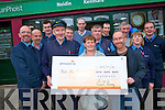 The South Kerry Branch of the Communications Workers Union have presented a cheque of EUR6,500 to the Bee for Battens foundation. The money was handed to the Mike Carey Grandfather of Saoirse and Liam Heffernan both of whom suffers from the rare illness.  Mike retired from this  role as postman in Kenmare this and colleagues from his union held a fund-raising night to help boost the Bee for battens fund-raising efforts.