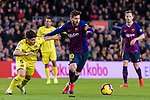 Lionel Messi of FC Barcelona (R) in action against Santiago Caseres of Villarreal (L) during the La Liga 2018-19 match between FC Barcelona and Villarreal at Camp Nou on 02 December 2018 in Barcelona, Spain. Photo by Vicens Gimenez / Power Sport Images