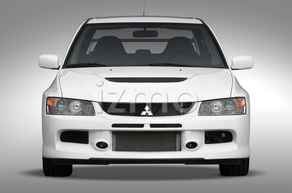 Straight front view of a 2006 Mitsubishi Lancer Evolution MR