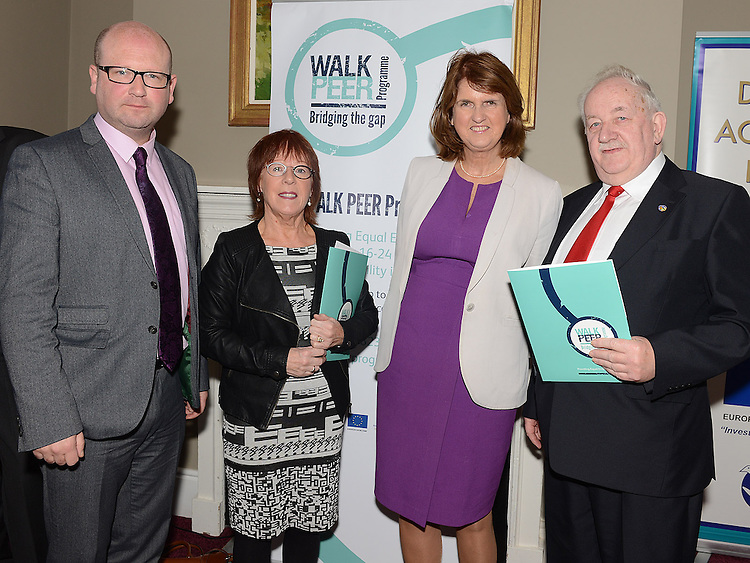 Ged Nash TD, Mary Reynolds St Ita's School Drogheda, Minister for Social Protection Joan Bruton and Donncha Mac Raghnaill Resource Centre Drogheda at the launch of the Walk Peer Programme in Bellingham Castle hotel. Photo:Colin Bell/pressphotos.ie