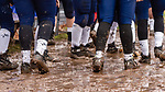 ANSONIA, CT. 02 December 2018-120218 - Ansonia players stand in the mud along their sidelines during the Class S Semi-final game between Bloomfield and Ansonia at Ansonia High School in Ansonia on Sunday. Bloomfield held on to beat Ansonia 26-19 and advances to the Class S Championship game next week. Bill Shettle Republican-American