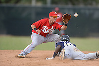 Cincinnati Reds second baseman Shane Mardirosian (41) takes a throw as Franly Mallen (10) dives back to second during an Instructional League game against the Milwaukee Brewers on October 6, 2014 at Maryvale Baseball Park Training Complex in Phoenix, Arizona.  (Mike Janes/Four Seam Images)