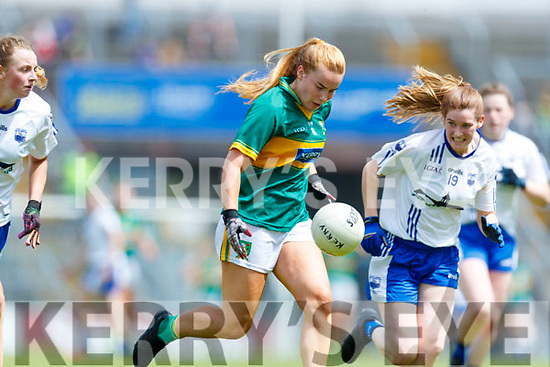 Andrea Murphy  Kerry in action against Carragh McCarthy Waterford in the TG4 Munster Senior Ladies Football Championship semi-final match between Kerry and Waterford at Fitzgerald Stadium in Killarney on Sunday.