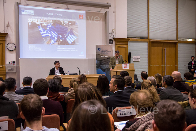 London, 10/11/2015. Today, the LSE (London School of Economics and Political Studies) presented a public lecture - part of the LSE Hellenic Observatory public lecture - called &quot;Economic Blues: The Left in Government Times&quot; hosted by Euclid Tsakalotos (Greek Minister of Finance; Syriza Politician; left-wing Greek economist; he has been the Minister of Finance in the Second Cabinet of Alexis Tsipras since 23 September 2015; he previously served as the Minister of Finance in the First Cabinet of Alexis Tsipras from 6 July 2015, following Yanis Varoufakis's resignation, to the 28 August 2015, when a caretaker cabinet was appointed before the September 2015 legislative election; he studied economics at the universities of Oxford and Sussex; he was Professor at the University of Kent, the Athens University of Economics and Business and is currently a professor of economics at the University of Athens). Chair of the event was Professor Kevin Featherstone (Director of the LSE Hellenic Observatory Director). From the event online page: &lt;&lt; What are the prospects of the Left in government after the summer agreement? Can that agreement be incorporated into a political strategy that furthers social justice and a different economic model? Can Greece act as catalyst for wider progressive changes in the Eurozone and the EU?&gt;&gt;.<br /> <br /> Here there is the link to podcast and video of the lecture: http://bit.ly/1HCiq2D