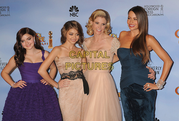 Ariel Winter, Sarah Hyland, Julie Bowen, Sofia Vergara.Press Room at the 69th Annual Golden Globe Awards held at the Beverly Hilton Hotel, Hollywood, California, USA..January 15th, 2012.globes half length dress blue hand on hip peacock strapless purple cream beige lace.CAP/GDG.©GDG/Capital Pictures