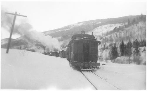 RGS freight train with caboose #0400 heading downgrade from Matterhorn?<br /> RGS  Matterhorn ?, CO