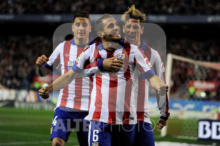 Atletico de Madrid´s Koke, Fernando Torres and Gimenez celebrates a goal during 2014-15 La Liga match between Atletico de Madrid and Valencia CF at Vicente Calderon stadium in Madrid, Spain. March 08, 2015. (ALTERPHOTOS/Luis Fernandez)