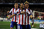 Atletico de Madrid´s Koke, Fernando Torres and Gimenez celebrates a goal during 2014-15 La Liga match between Atletico de Madrid and Valencia CF at Vicente Calderon stadium in Madrid, Spain. March 08, 2015. (ALTERPHOTOS/Luis Fernandez)
