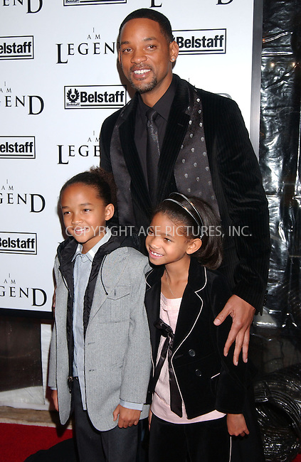 WWW.ACEPIXS.COM . . . . . ....December 11 2007, New York City....Actors Jaden Smith, Willow Smith and Will Smith arriving at the Warner Brothers New York premiere of 'I Am Legend' at The WaMu Theater at Madison Square Garden....Please byline: KRISTIN CALLAHAN - ACEPIXS.COM.. . . . . . ..Ace Pictures, Inc:  ..(646) 769 0430..e-mail: info@acepixs.com..web: http://www.acepixs.com
