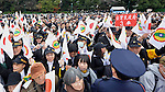 December 23, 2013, Tokyo, Japan - Well-wishers wave paper flags, celebrating the 80th birthday of Emperor Akihito during a general audience at the Imperial Palace in Tokyo on Monday, December 23, 2013. The monarch told the crowd of some 25,000 people that he prayed the coming year will be a good year for all. (Photo by Natsuki Sakai/AFLO)