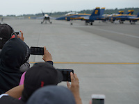 "Spectators shoot iphone video and photos as the United States Navy Flight Demonstration Squadron ""The Blue Angels"" taxi for takeoff during Arctic Thunder 2016 at Joint Base Elmendorf-Richardson. Photo by James R. Evans"