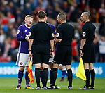 Mark Duffy of Sheffield Utd talks to the officials after the final whistle during the Championship match at the Riverside Stadium, Middlesbrough. Picture date: August 12th 2017. Picture credit should read: Simon Bellis/Sportimage