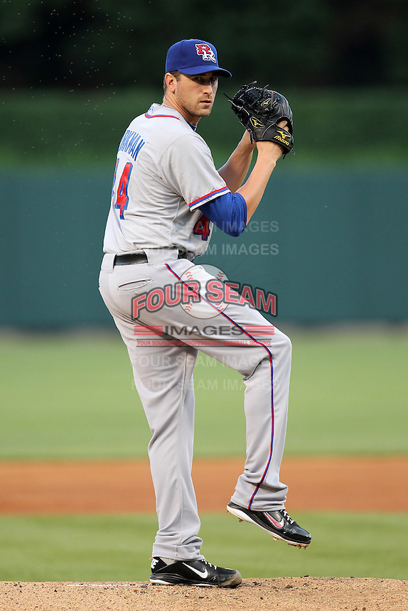 Round Rock Express starting pitcher Michael Kirkman #44 delivers a pitch during a game versus the Memphis Redbirds at Autozone Park on April 28, 2011 in Memphis, Tennessee.  Memphis defeated Round Rock by the score of 6-5 in ten innings.  Photo By Mike Janes/Four Seam Images