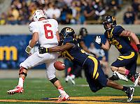 Robert Mullins of California sacks Stanford quarterback Josh Nunes causing Nunes to fumble the ball during 115th Big Game at Memorial Stadium in Berkeley, California on October 20th, 2012.  Stanford defeated California, 21-3.