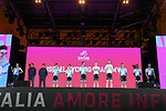 Israel Cycling Academy on stage at the Teams Presentation held in Piazza Maggiore Bologna before the start of the 2019 Giro d'Italia, Bologna, Italy. 9th May 2019.<br /> Picture: Fabio Ferrari/LaPresse | Cyclefile<br /> <br /> All photos usage must carry mandatory copyright credit (&copy; Cyclefile | Fabio Ferrari/LaPresse)