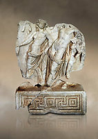 Roman Sebasteion relief  sculpture of Dionysus Drunk Aphrodisias Museum, Aphrodisias, Turkey.  Against an art background.<br /> <br /> A prancing woodland nymph leads drunken Dionysus who supports himself languidly on a small satyr. This is an image of Dionysian enjoyment and pleasure, hellenistic in style and fluently designed