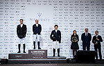Michael Whitaker of Great Britain riding Valentin R celebrates winning, with the second placed Marc Houtzager of The Netherlands riding Sterrehof's Edinus and the third placed Quanwei Meng of China riding Clintorado in the Maserati Masters Power during the Longines Masters of Hong Kong at AsiaWorld-Expo on 10 February 2018, in Hong Kong, Hong Kong. Photo by Diego Gonzalez / Power Sport Images