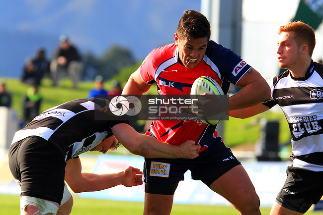 Quentin MacDonald in theTasman Makos vs Hawkes Bay Magpies ITM Cup rugby match held at Lansdowne Park, Blenheim 17th August 2014. Photo Gavin Hadfield / Shuttersport
