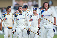 Picture by Alex Whitehead/SWpix.com - 12/09/2014 - Cricket - LV County Championship Div One - Nottinghamshire CCC v Yorkshire CCC, Day 4 - Trent Bridge, Nottingham, England - Yorkshire celebrate the win.