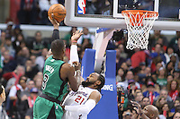 12/27/12 Los Angeles, CA: Boston Celtics power forward Jeff Green #8 and Los Angeles Clippers center Ronny Turiaf #21 during an NBA game between the Los Angeles Clippers and the Boston Celtics played at Staples Center. The Clippers defeated the Celtics 106-77 for their 15th straight win.