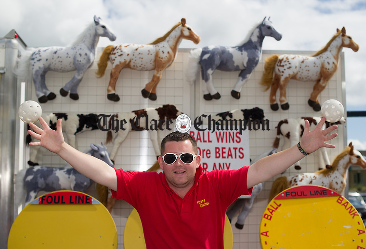 Cathal Leonard of Crazy Games offering contestants the chance to win a cuddly toy at Gort Show. Photograph by John Kelly.