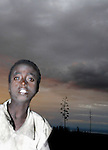 East African Rift Valley - ETHIOPIA - 15 APRIL 2004 -- An Ethiopian young boy during sunset in the East African Rift Valley. --PHOTO: JUHA ROININEN / EUP-IMAGES