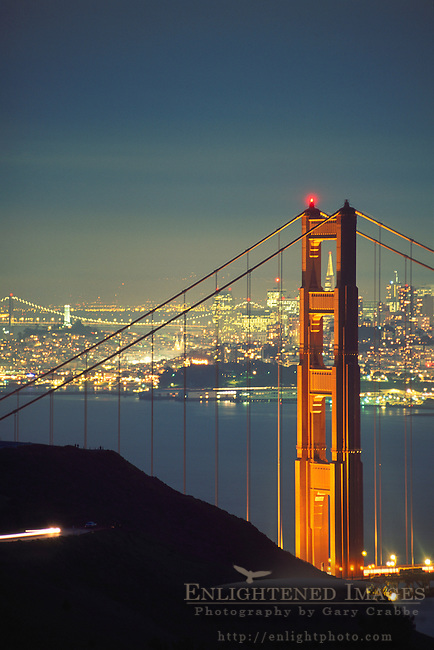 Golden Gate Bridge and San Francisco at night, Marin Headlands, Golden Gate National Recreation Area, Marin County, California