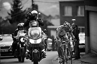 Liege-Bastogne-Liege 2012.98th edition..Vincenzo Nibali leading up Cote de Saint-Nicolas