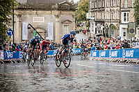 eventual silver medalist Alessio Martinelli (ITA) leading the pursuit to race leader Quinn Simmons (USA) who is up ahead<br /> <br /> Junior Men road race<br /> from Richmond to Harrogate (148km)<br /> 2019 Road World Championships Yorkshire (GBR)<br /> <br /> ©kramon