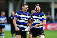 David Sisi and Elliott Stooke of Bath Rugby have a laugh after the match. Aviva Premiership match, between Bath Rugby and Newcastle Falcons on September 10, 2016 at the Recreation Ground in Bath, England. Photo by: Patrick Khachfe / Onside Images