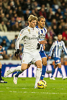 Real Madrid´s Toni Kroos and Deportivo de la Coruna's Helder Costa during 2014-15 La Liga match between Real Madrid and Deportivo de la Coruna at Santiago Bernabeu stadium in Madrid, Spain. February 14, 2015. (ALTERPHOTOS/Luis Fernandez) /NORTEphoto.com