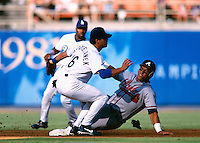 Andres Galarraga of the Atlanta Braves participates in a Major League Baseball game at Dodger Stadium during the 1998 season in Los Angeles, California. (Larry Goren/Four Seam Images)