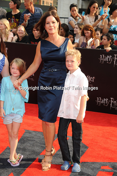 "Marcia Gay Harden and family arriving to the"" Harry Potter and the Deathly Hallows- Part 2""  North American Premiere on July 11, 2011 at Avery Fisher Hall in Lincoln Center in New York City."