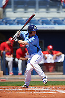 Charlotte Stone Crabs catcher Mac James (8) at bat during a game against the Palm Beach Cardinals on April 10, 2016 at Charlotte Sports Park in Port Charlotte, Florida.  Palm Beach defeated Charlotte 4-1.  (Mike Janes/Four Seam Images)