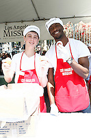 April 2, 2010: Sterling Beaumon and Aldis Hodge at the LA Mission Easter Luncheon event for the homeless in Los Angeles, California. .Photo by Nina Prommer/Milestone Photo.