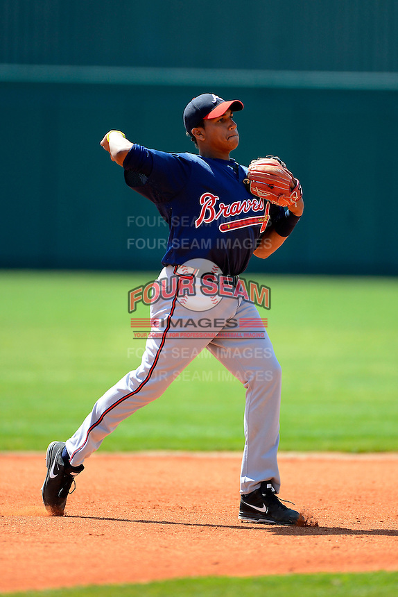 Atlanta Braves infielder Johan Camargo #12 during practice before a minor league Spring Training game against the Philadelphia Phillies at Al Lang Field on March 14, 2013 in St. Petersburg, Florida.  (Mike Janes/Four Seam Images)