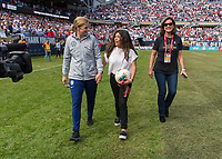CHICAGO, IL - OCTOBER 6: Jill Ellis of the United States walks the field with her family during a game between Korea Republic and USWNT at Soldier Field on October 6, 2019 in Chicago, Illinois.