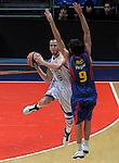 Real Madrid's Sergio Rodriguez (l) and FC Barcelona's Ricky Rubio during ACB Supercup Semifinal match.September 24,2010. (ALTERPHOTOS/Acero)